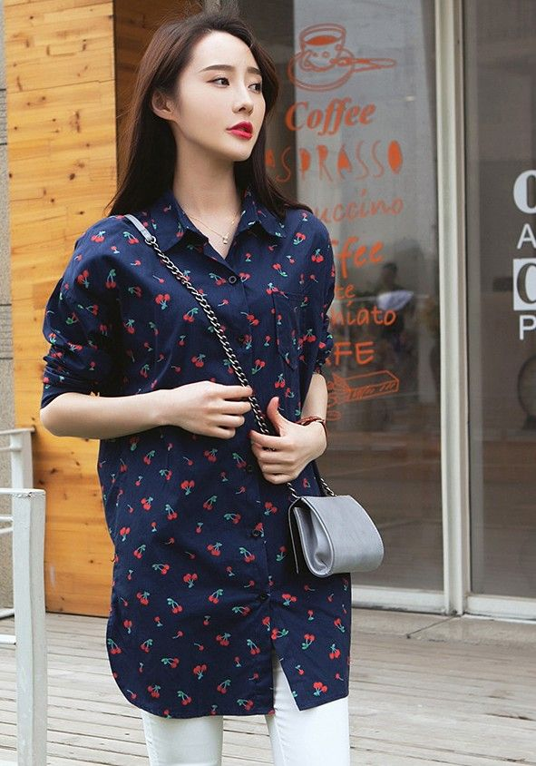 2015 Korean cherry printed lapel long-sleeved dress long blouse ghl3936
