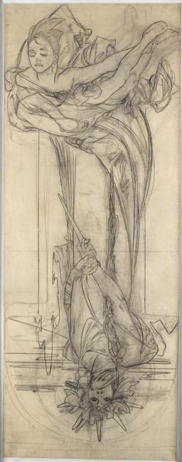 Alphonse (Alfons) Mucha - Illustration - Art Nouveau - Drawing for a Poster of Sarah Bernhardt en Médée (Sarah Bernhardt in Medea). Circa 1898.