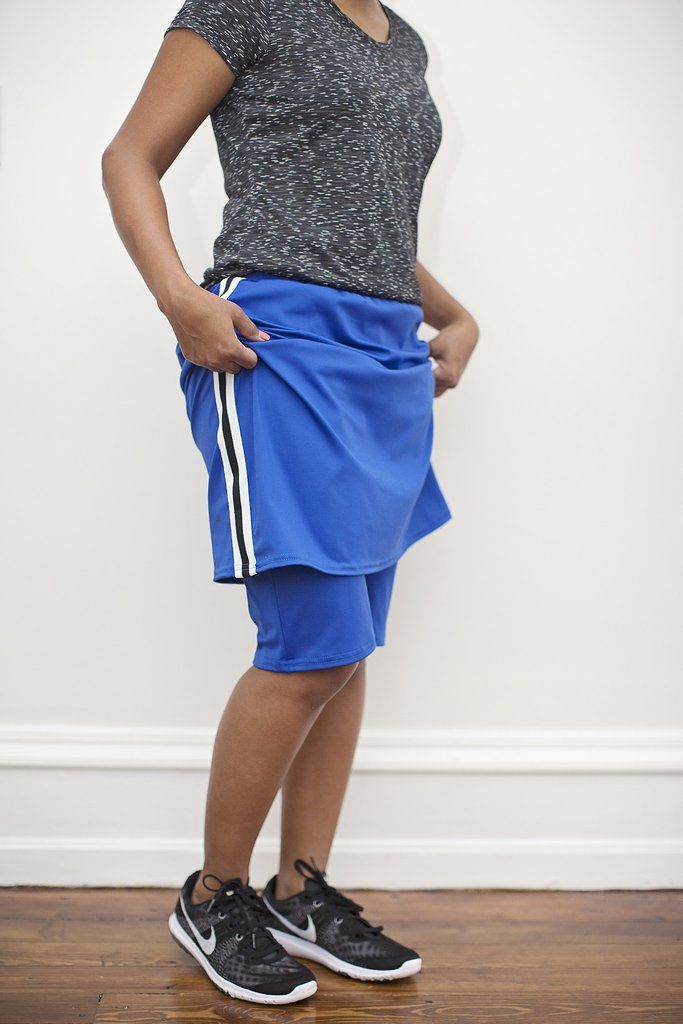 """Knee-length 92% MicroPoly/ 8% Spandex 2"""" fabric-covered elastic waistband in adult sizes 1.5"""" fabric covered elastic waistband in girl sizes Available in Cha"""