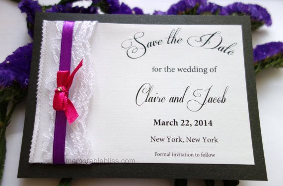 Handmade fancy Fuchsia & Purple Save the Date with Floral Lace and Swarovski Crystal on linen textured or shimmer cardstock