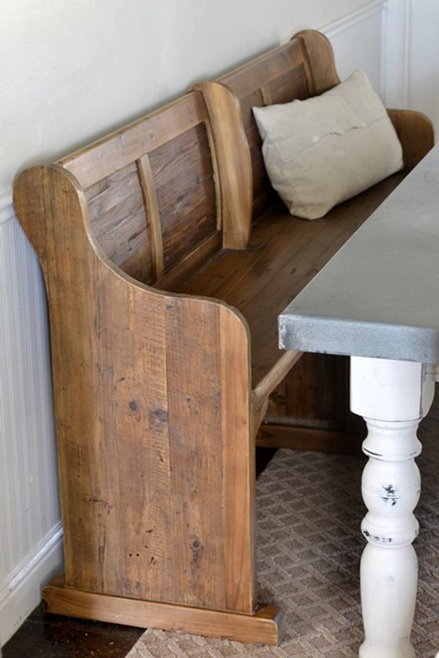 """blog.arhaus.com   SALE $1,299.00 Made from 100% reclaimed bleached Pine, this rustic dining bench adds a fun and whimsical element to any dining setting. 97.5""""W X 19""""D X 35.5""""H"""