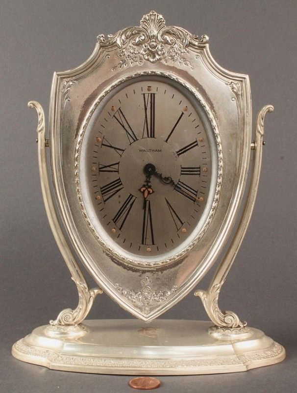 Clock Hourglass Time:  Waltham #Clock with Reed & Barton Sterling Silver Case.