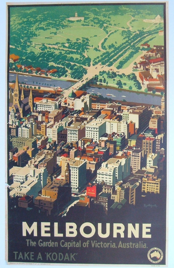 vintage australian poster   melbourne