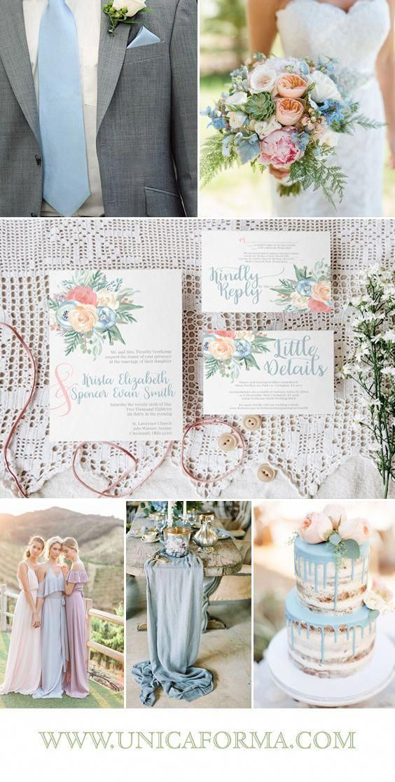 Blush wedding. Dusty blue wedding. French blue wedding. Orange wedding. Pink ora…