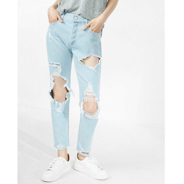 Express High Waisted Destroyed Original Vintage Skinny Ankle Jeans (555 HRK) ❤ liked on Polyvore featuring jeans, blue, high waisted skinny jeans, white skinny jeans, white distressed skinny jeans, destroyed skinny jeans and light wash skinny jeans