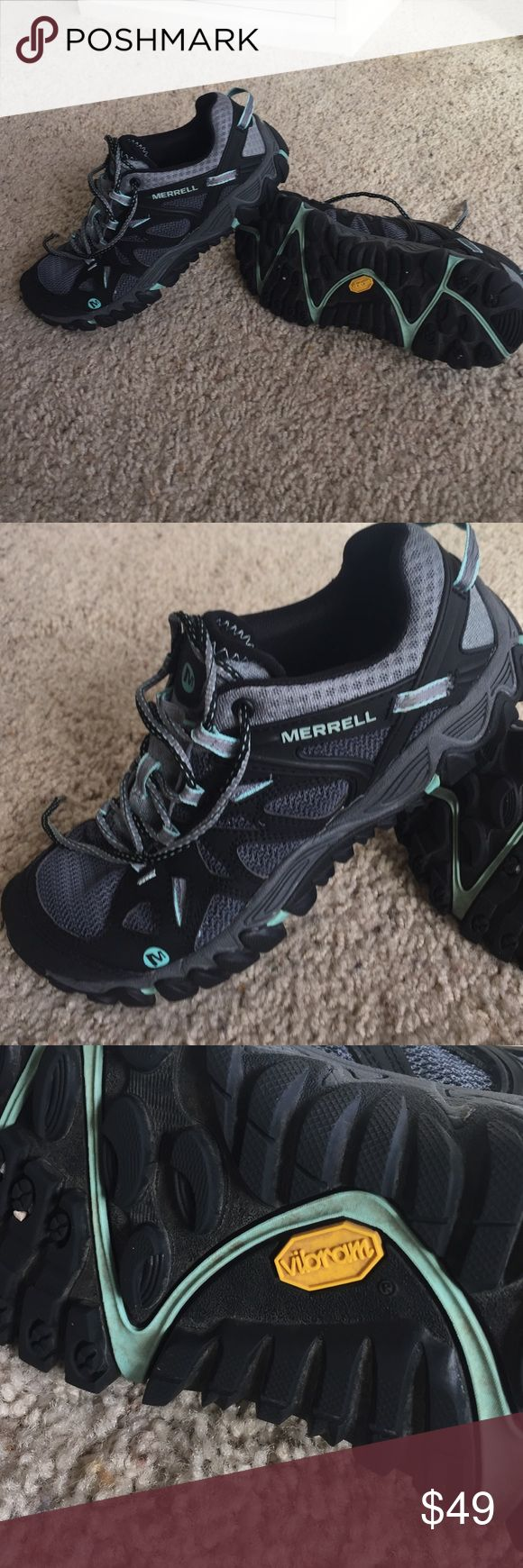 Merrill Shoes Black Adventure Merrell hiking trail shoe with Vibram sole excellent condition black/dark gray / teal green detail Merrell Shoes Athletic Shoes