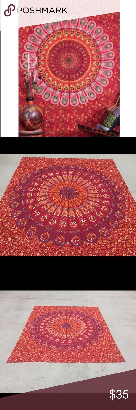 """🎁Wall Decor birthday gift thanksgiving present🎉 Brand new.Handmade with natural dyes.   Uses: bed spread, couch spread, curtains, wallhangings, Celling decor, beach mat, picnic mat, table cloth, yoga & meditation.  Size: 90"""" X 84"""" inch ( Queen bed)   Material;100% Cotton  Wash: cold wash   #festival #bohohome #bohochic #bohostyle #hippylife #hippiekid #gypsylife #tapestry #mandala #yogamat #mandala #burningman, #birthdaygift, #beachtowel #bedspread #walldecor #gift #boho #hippy #gypsy…"""