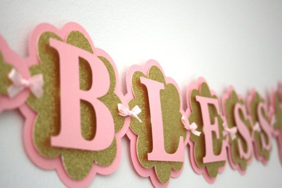 Baptism Banner God Bless Banner Party by treelittlebirdz on Etsy