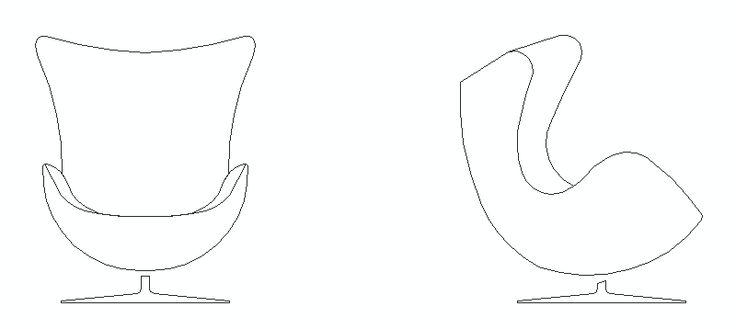 silla infantil Egg en alzado Bloques AutoCAD de Mueble
