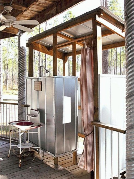 This Galvanized Metal Outdoor Shower Enclosure Looks Right At Home In This  Vacation Spot Created From An Old Grain Silo. Surrounded By Miles Of  Farmland, ...