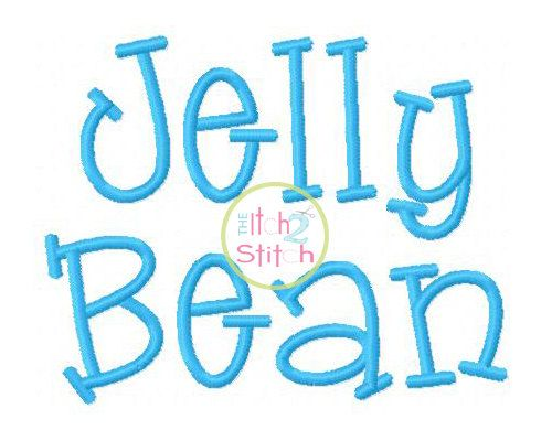 """Jelly Bean Machine Embroidery  Font  1"""", 1.5"""" &  2"""" (upper and lower A-Z) INSTANT DOWNLOAD now available"""