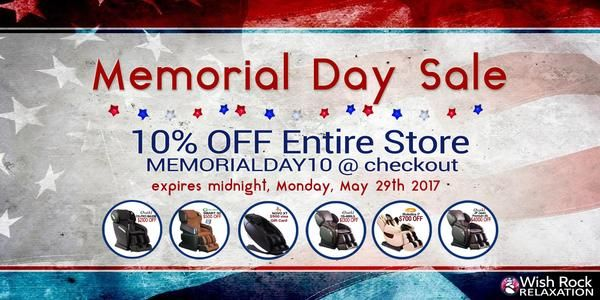Memorial Day Sale - Save 10% OFF entire store -- all massage chairs and zero gravity recliners