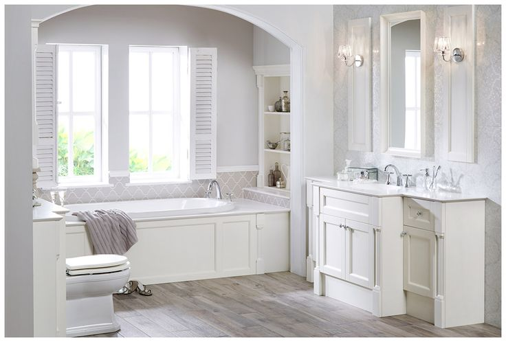 A peaceful bathroom in Cotton White painted timber from the Roseberry collection #Roseberry #paintedtimber #bathroomfurniture #myutopia