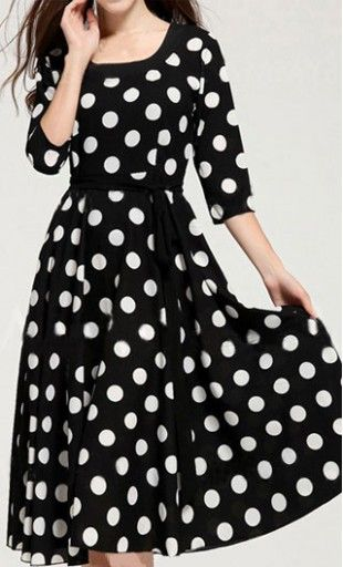 Womens modest 3/4 sleeve polka dot mid length dress with matching ribbon belt available in S-XL. #polkadots
