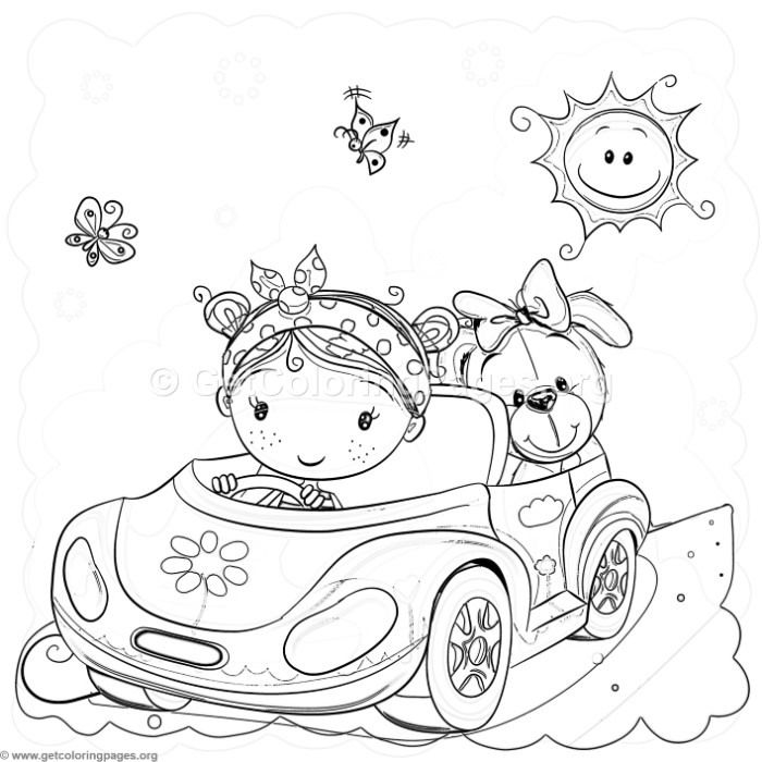 Free Instant Downloads Cute Cartoon Car Little Girl And Dog