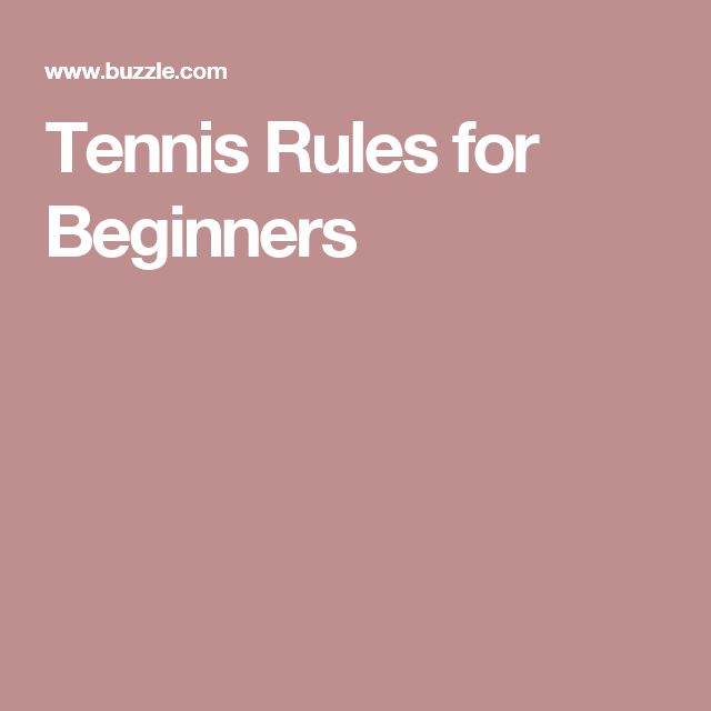 Tennis Rules for Beginners