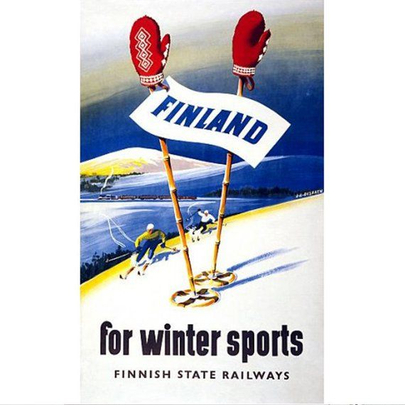 Finland Travel Poster, Vintage Finnish Skiing Prin…