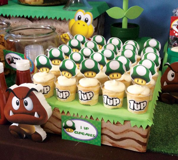 Clever Super Mario Brothers Party Ideas- 7 Up Cupcakes