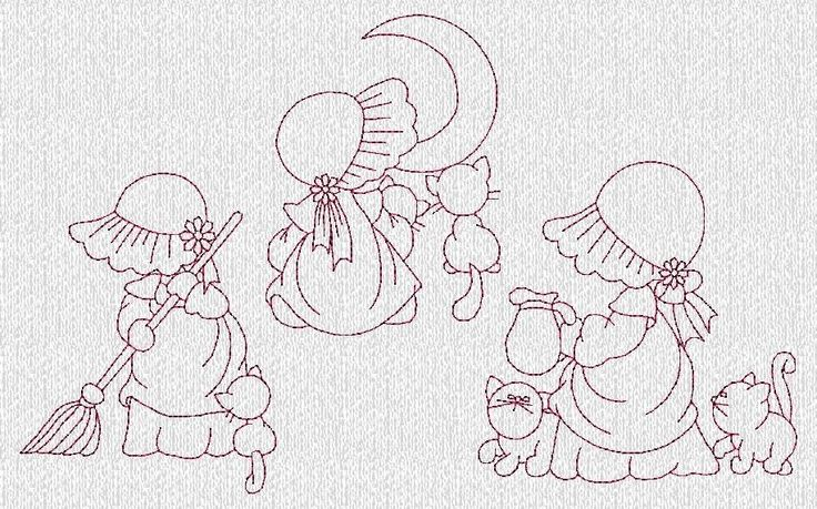 INSTANT DOWNLOAD Sunbonnet Sue and Kitties Redwork Machine Embroidery Designs