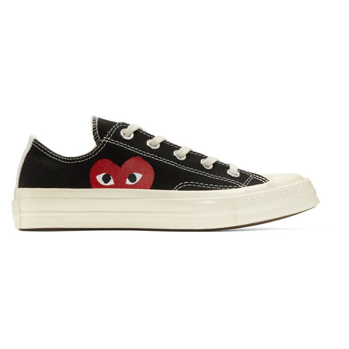 Canvas Heart Print Sneakers In Black | Chuck taylors ...