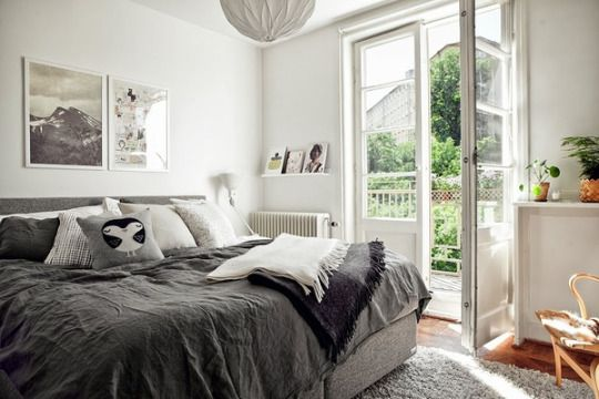 #modern #bedroom in #grey and #white