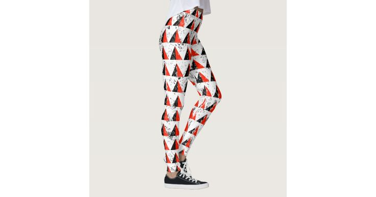 Red Distressed Triangle Pattern Leggings