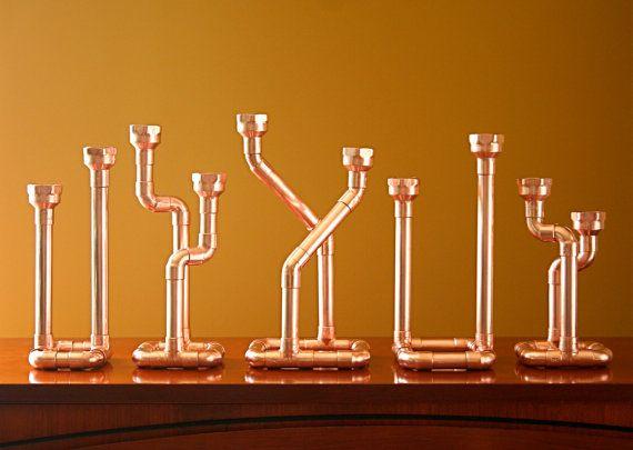 Industrielle Dekor Kupferrohr Kerzenhalter von McGdesign auf Etsy