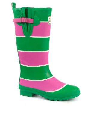 Rampant Sporting Green and Pink Stripe Wellies - New Look