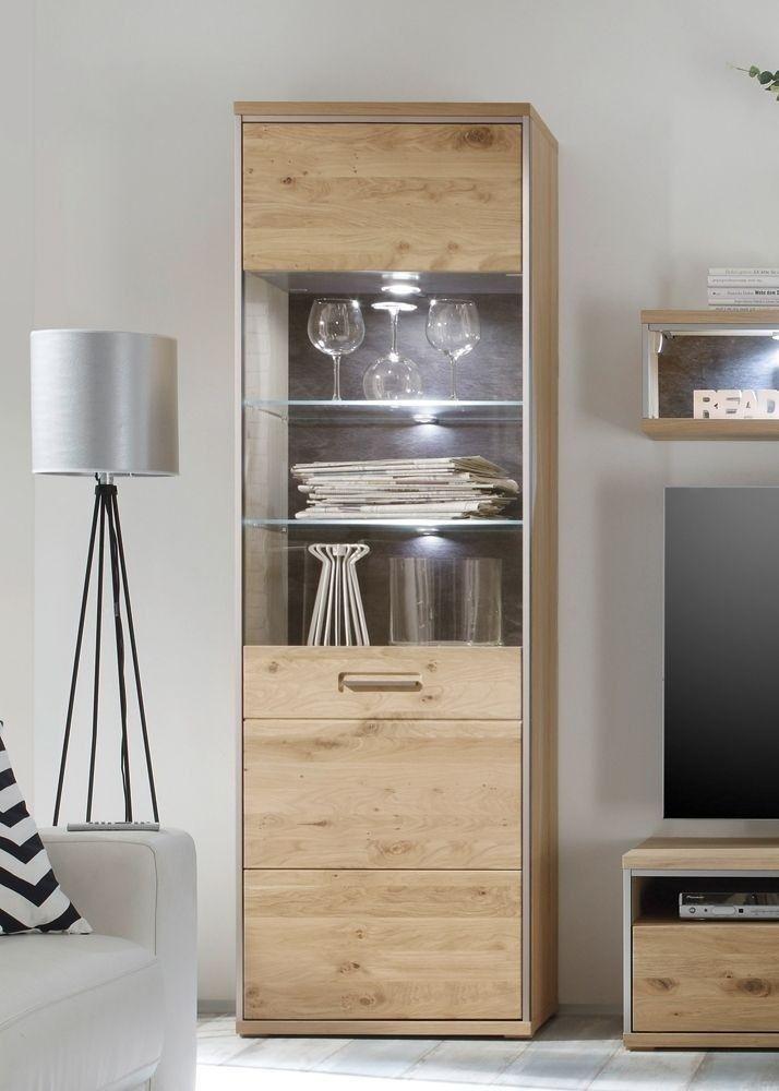 Ideal Vitrinenschrank Massiv Espero Glasvitrine Holz Asteiche Bianco