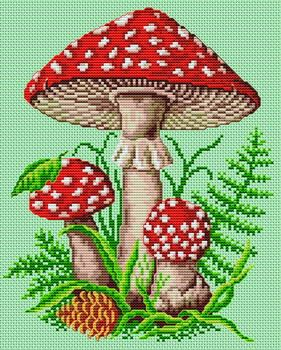 Mushrooms cross stitched