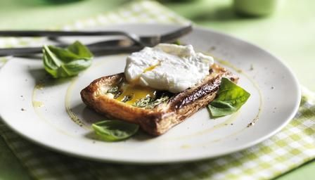BBC - Food - Recipes : Asparagus and poached egg puff tarts with parmesan and basil