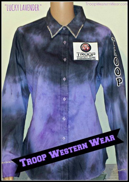 TROOP LADIES TIE DYED PRO RODEO SHIRT - LUCKY LAVENDER -PURPLE and BLACK