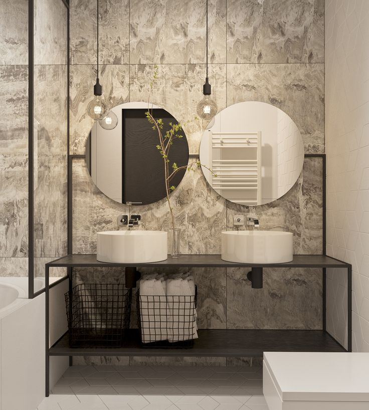Bathroom With Marble Walls And Double Sink Vanity. Project For Martin  Architects. Design And Visualization By Olia Paliichuk ähnliche Tolle  Projekte Und ...