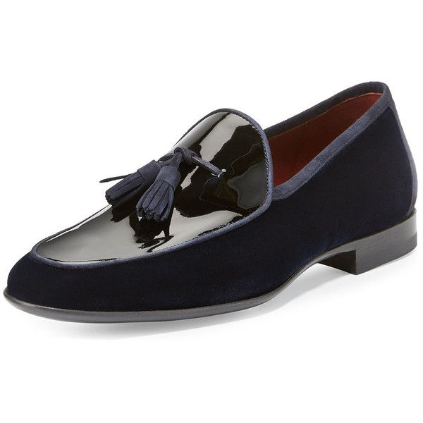 Magnanni For Neiman Marcus Velvet & Patent Leather Tassel Loafer (24.350 RUB) ❤ liked on Polyvore featuring men's fashion, men's shoes, men's loafers, navy, mens tassel loafer shoes, leather sole mens shoes, mens velvet slip on shoes, mens slip on shoes and mens flat shoes