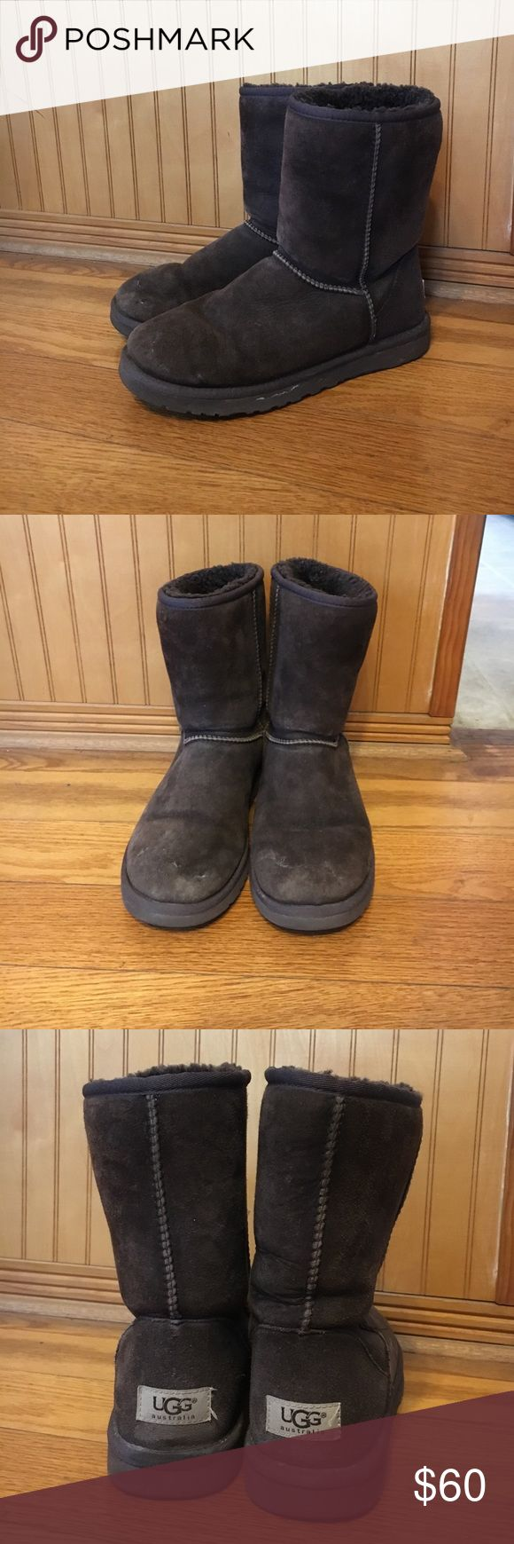 Classic short chocolate brown UGG Australia boots These UGG boots are super warm and comfortable and aren't loose at all by any means. The chocolate brown color goes with everything and they are a great fall/winter item to have! UGG Shoes Winter & Rain Boots