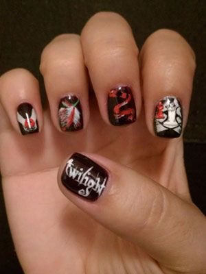Twi-hard nails! There is something fundamentally wrong with this board in that there are Twilight nails, Jonas Brothers nails, and One Direction nails, but no Harry Potter nails. Terribly sad.