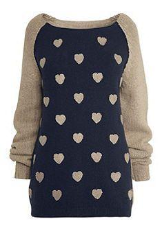 grijs blauwe trui van Next met hartjes, grote maten mode, Otto.