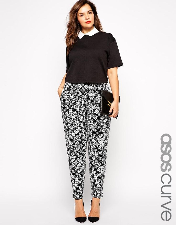 ASOS Curve | ASOS CURVE Exclusive Peg Trouser in Mono Tile Print at ASOS