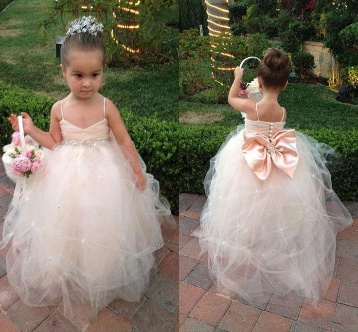 Romantic Tutu Flower Girl Dresses 2015 Cute Ball Gown Spaghetti Backless Beaded with Big Bow Floor Length Tulle Princess Gowns