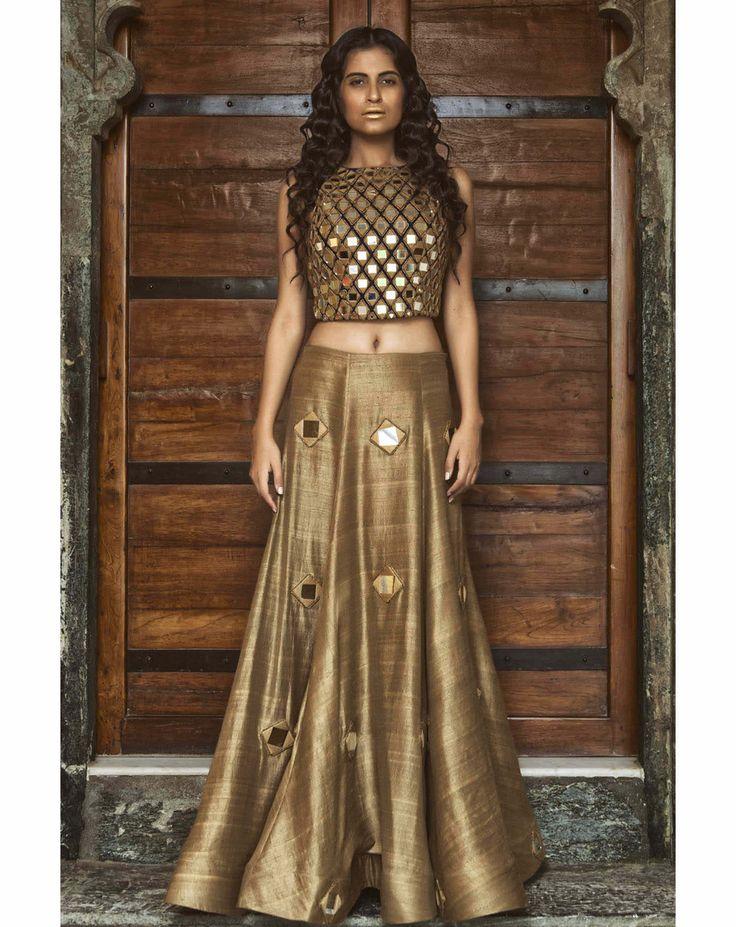 Mayyur Girotra Mirrored Crop Top Bronze Lehenga Indian