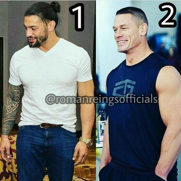 WWE Superstars Roman Reigns number 1 John Cena number 2
