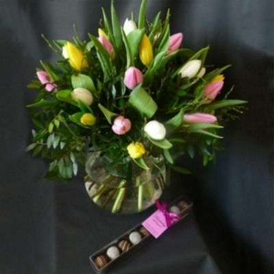 A bouquet of mixed Tulips, with a free box of chocolates.  Part of our Mothers Day 2016 Collection.