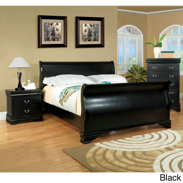Furniture of America Bravo Smooth Transitional Sleigh Bed (Cal King - Black), Size California King