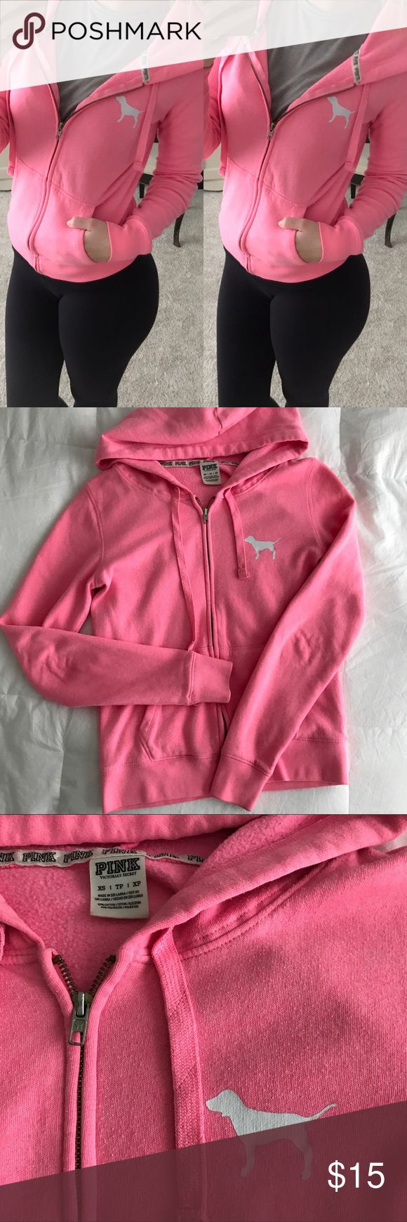Victoria's Secret PINK zip up hoodie! Perfect condition! Bright pink PINK zip up hoodie with writing on the back! PINK Victoria's Secret Sweaters