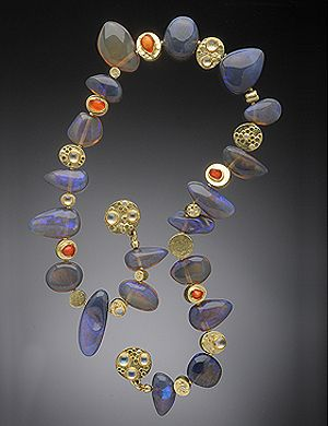 Lightening ridge opal necklace ~ 18K, Mexican jelly opal, moonstones and white diamonds. HUGHES BOSCA JEWELRY | NECKLACES