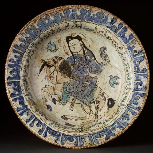Plat au cavalier fauconnier riding falconer. e, 13th c. Iran