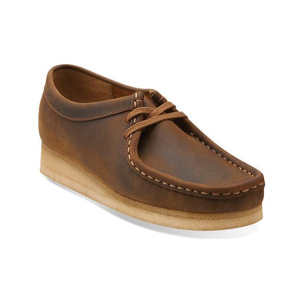 Women's Clarks Wallabee - Beeswax/Beeswax Leather Casual ($135) ❤ liked on Polyvore featuring shoes, brown, casual, originals, brown moccasins, clarks shoes, crepe sole shoes, clarks and clarks moccasins