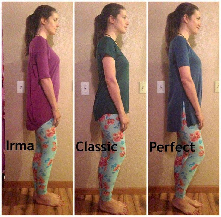 Great top comparison, side by side. Irma, Classic Tee and Perfect Tee - find these styles at https://www.facebook.com/groups/LularoeLauraMiller/