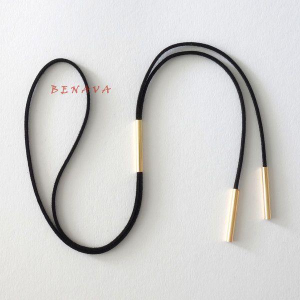 Halsbänder & Choker - Choker Halskette Halsband Verstellbar Schwarz Gold - ein Designerstück von BENAVA bei DaWanda