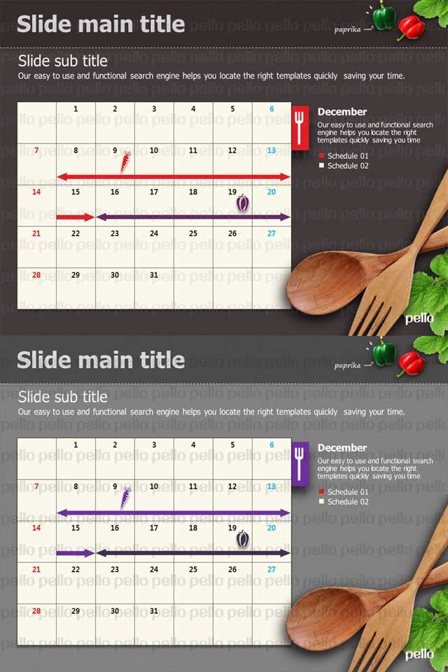 Showcase your data's timetable in this kitchen or food-themed PowerPoint template. Full HD. Available for download only at Pello in 2 visually stunning color schemes.